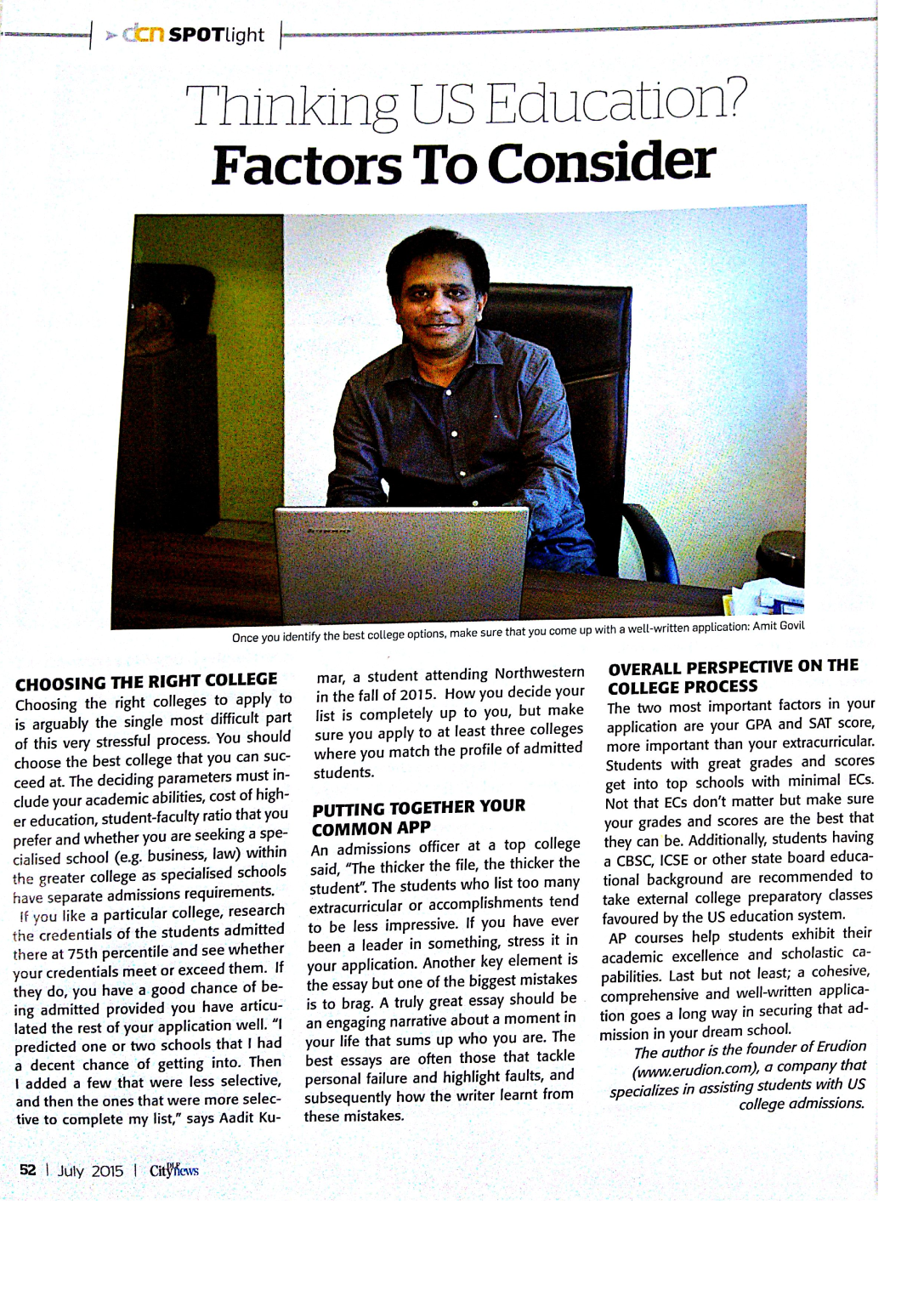 "Erudion in the News – A glimpse of what our CEO, Amit Govil says about ""Thinking US Education?"""